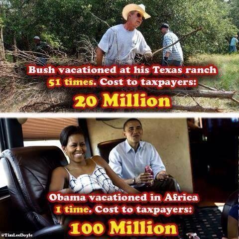 Bush vs Obama vacay costs
