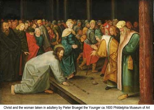 Christ and the woman taken in adultery by Bruegel