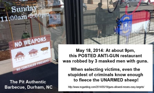 No weapons sign on  The Pit Authentic Barbecue, Durham
