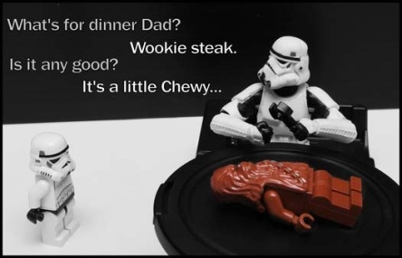STAR WARS and LEGO Wookie steak a little Chewy