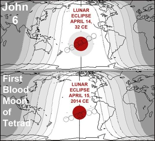 Total lunar eclipses of April 14 32 and April 15 2014