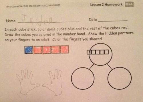 2014_03 Kgarten Common Core math homework