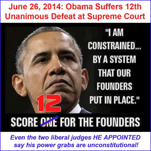 2014_06 26 Obama over reaches - 12th defeat in SCOTUS