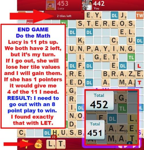 SCRABBLE End Game - Do the math