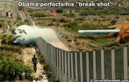 2014_07 11 Obama perfects his break shot by Terrell - border