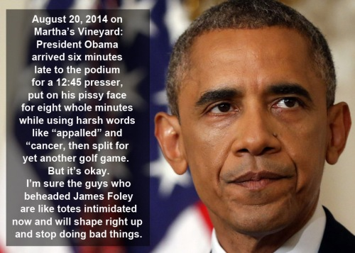 2014_08 20 Obama said some words then went golfing again
