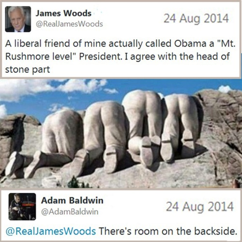 2014_08 24 James Woods Adam Baldwin Obama Rushmore tweet