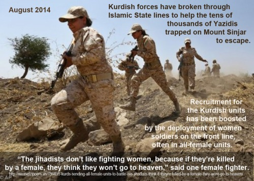 2014_08 Jihadists hate fighting female soldiers