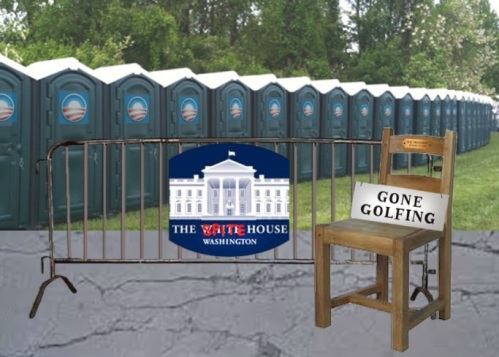 OBAMA empty chair outhouses gone golfing by CtH