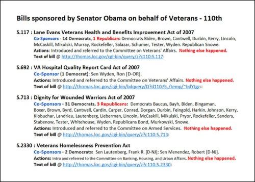 Veterans' Bills by Obama - 110th