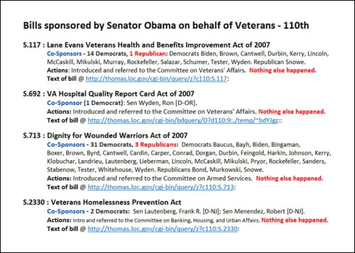 Veterans' Bills by Obama - 110th