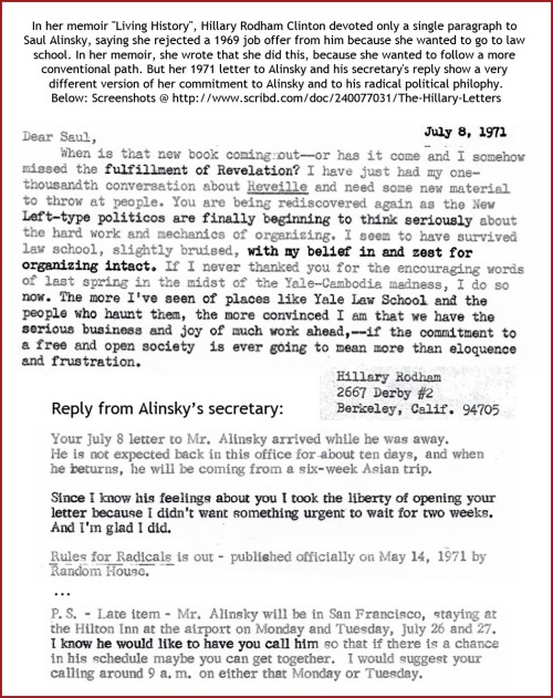 1971 HRC letters to and from Alinsky