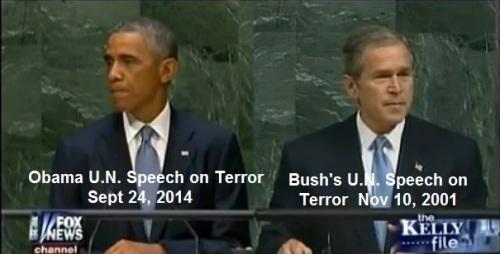 2001 Bush and 2014 Obama UN speeches