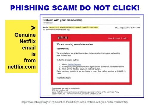 2013_08 Netflix problem is phishing scam