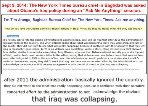2014_09 09 NYT Bagdad bureau chief on Obama's Iraq policy