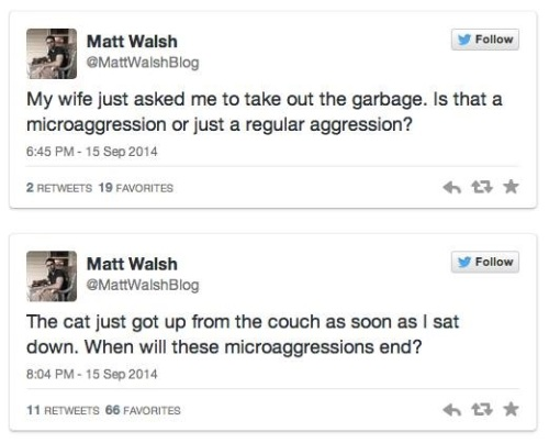 2014_09 15 Matt Walsh tweets microaggression jokes
