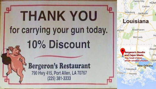 2d AMENDMENT Restaurant offers discount for armed customers