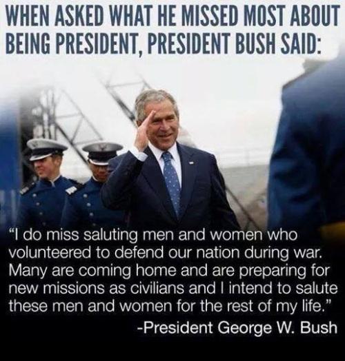 BUSH saluting