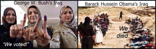 IRAQ Bush VOTES v Obama DEATH