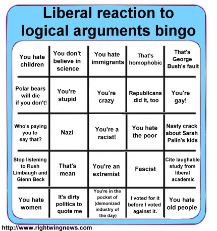 Liberal reactions to logical arguments BINGO
