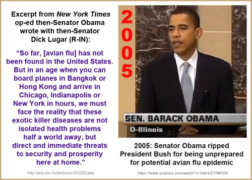 2005 Strong words from Obama re disease threat