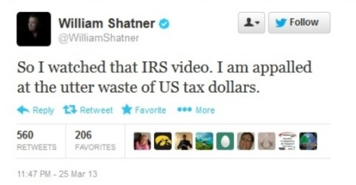 2013_03 25 Shatner appalled at IRS video
