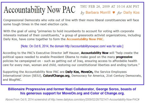 2014_10 06 Daily Kos and George Soros - Accountability Now PAC