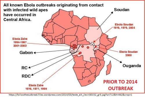 Ebola Africa outbreaks map