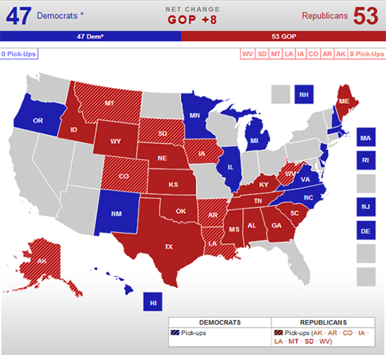 Real Clear Politics 2014 Senate Race Map 10-16-2014