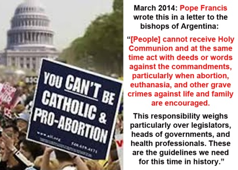 2014_03 Pope says you can't be Catholic and Pro-Abortion
