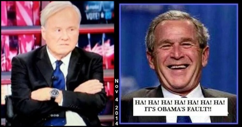 2014_11 04 Chris Matthews pouts Bush laughs