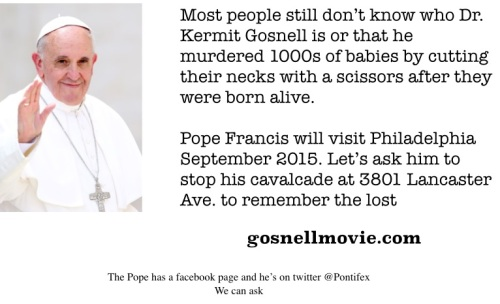 2014_11 30 Ask Pope Francis to visit Gosnell bldg