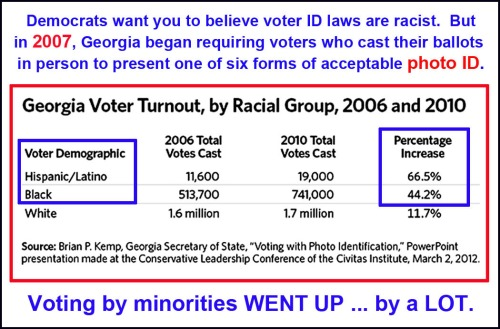 GA voter id law incr minority voting