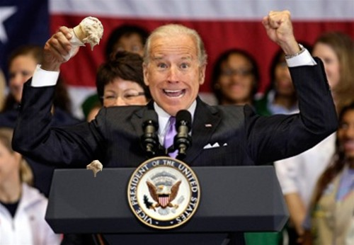 Joe Biden two fisted cheer with photoshopped ice cream