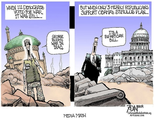 Media Math - Bush's War vs Bipartisan Bill