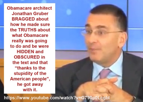 Ocare architect brags about stupid Americans