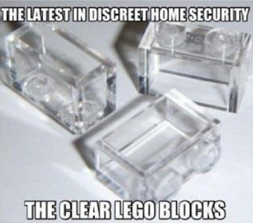 SECURITY Clear Lego blocks