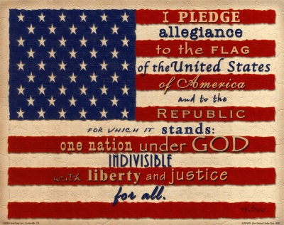 Pledge of Allegiance on flag