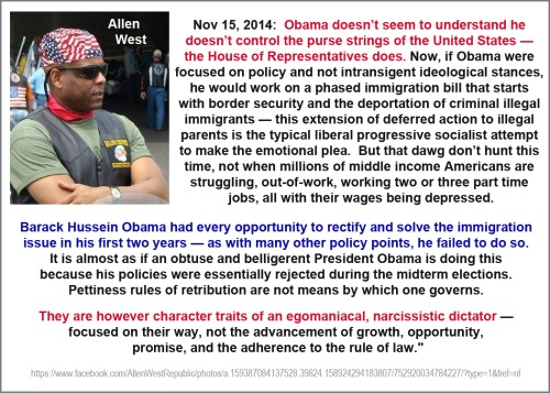 2014_11 15 Allen West on Obama's immigration ploy