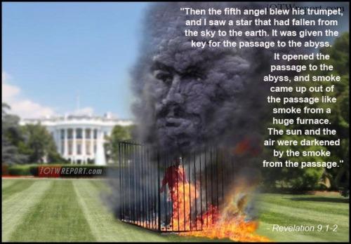 ISIS Satan on WH lawn w Rev 9 1-2