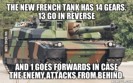New tank developed in France that has 13 reverse gears and 1 forward gear in case enemy attack from behind