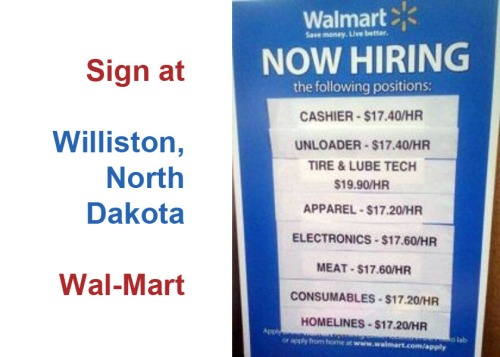 2014_07 Walmart hiring sign Williston ND