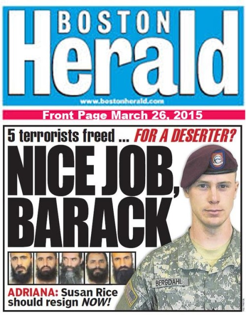 2015_03 26 Boston Herald front page - Bergdahl