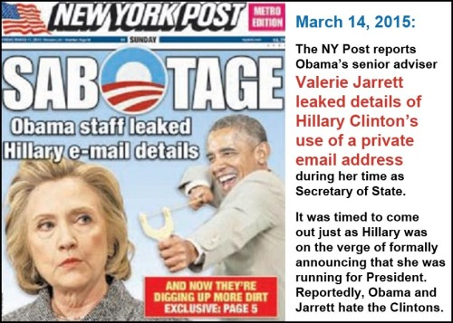 2015_03 NY Post says Obama sabotaging Hillary