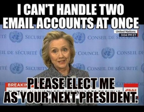 HILLARY can't handle 2 email accts