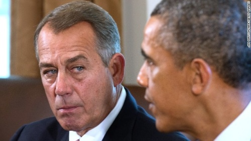 Boehner glares at Obama