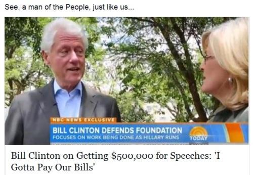 Clinton gotta pay bills