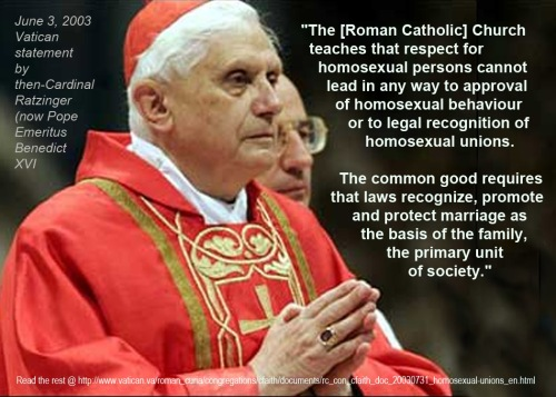2003 Ratzinger on homosexual unions