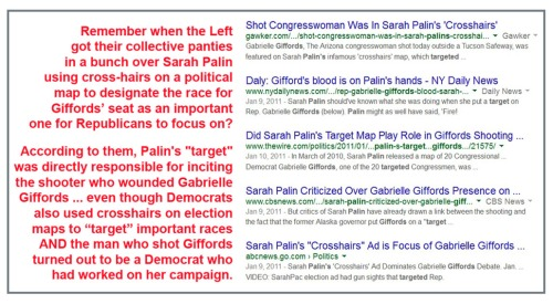 2011 Palin's crosshairs and Gabrielle Giffords