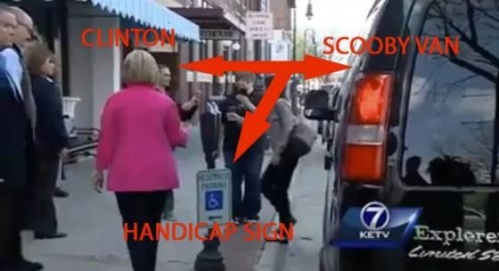 2015 Hillary's Scooby Van in handicapped spot
